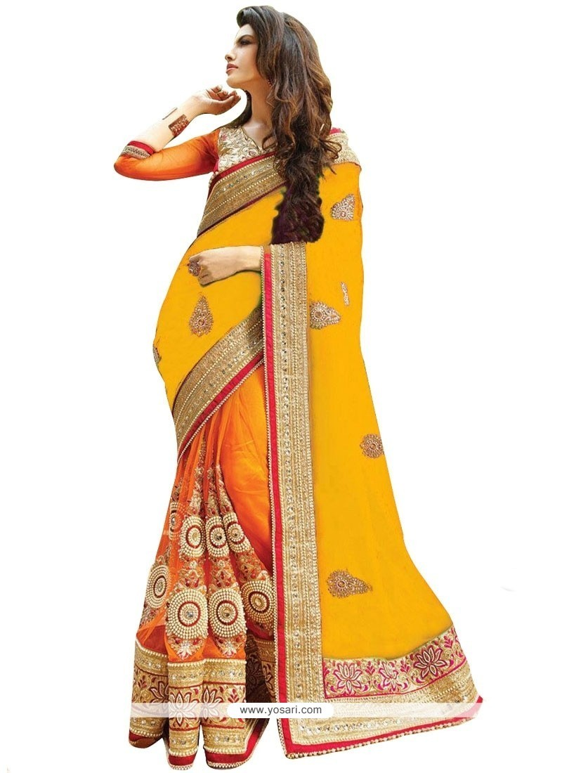 Precious Orange And Yellow Half N Half Designer Saree