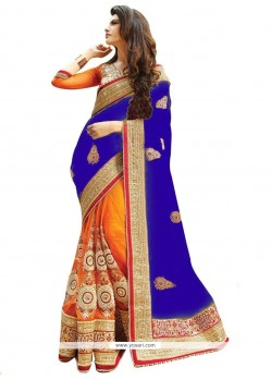 Delightsome Net Blue And Orange Half N Half Designer Saree