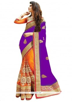 Prominent Orange And Purple Resham Work Half N Half Designer Saree