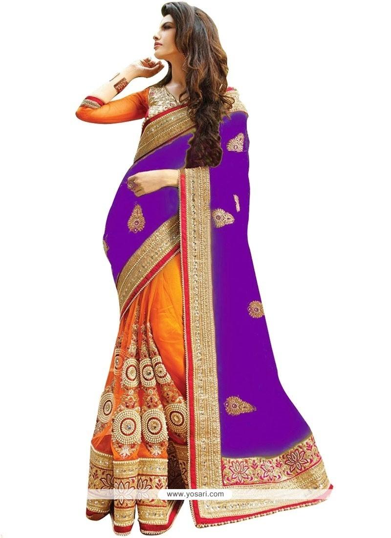 Prominent Orange And Purple Resham Work Half N Half Designer Saree