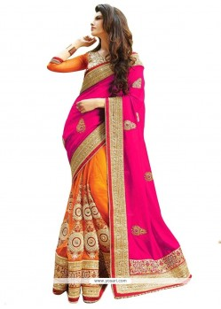 Awesome Hot Pink And Orange Embroidered Work Half N Half Designer Saree