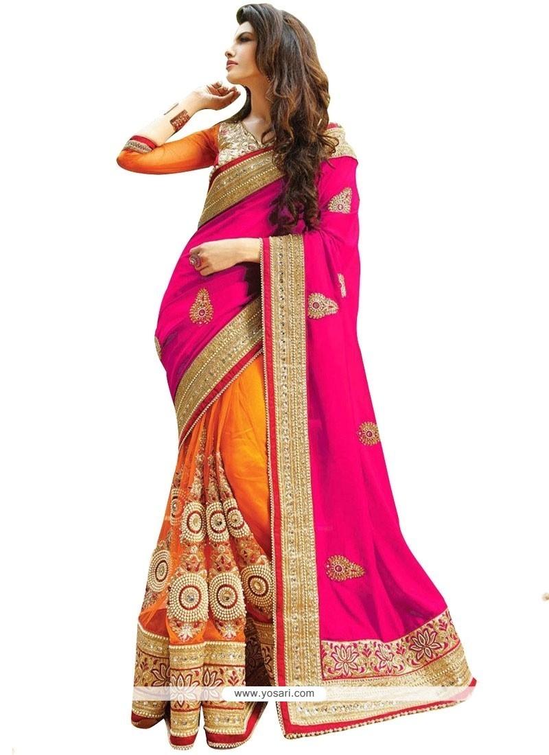 Awesome Hot Pink And Orange Embroidered Work Half N Half Designer Saree