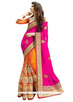 Heavenly Magenta And Orange Resham Work Net Half N Half Saree
