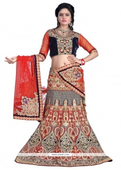 Dainty Red Patch Border Work A Line Lehenga Choli