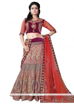 Exceeding Net Pink Patch Border Work A Line Lehenga Choli