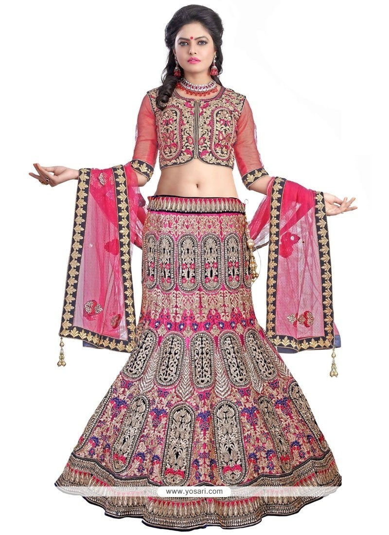 Lively Hot Pink Resham Work Net A Line Lehenga Choli