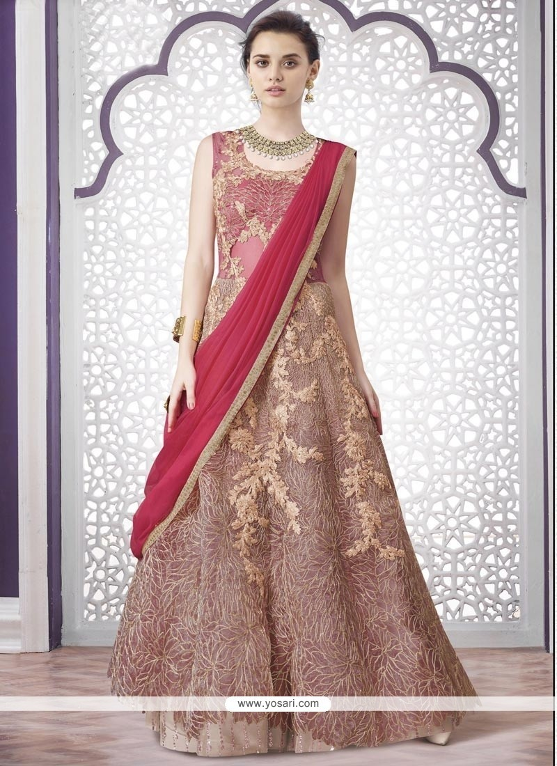120a2270ec Buy Versatile Net Pink Embroidered Work A Line Lehenga Choli ...
