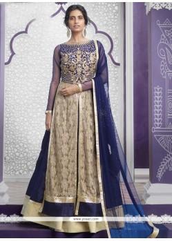 Adorning Raw Silk Blue A Line Lehenga Choli