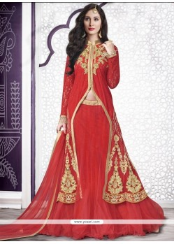 Peppy Net Red A Line Lehenga Choli