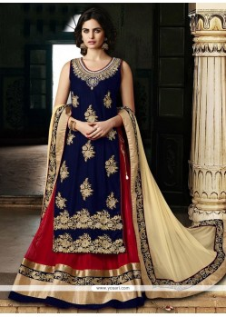 Elite Blue And Red Lehenga Choli