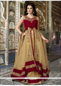 Prodigious Beige Embroidered Work Net A Line Lehenga Choli