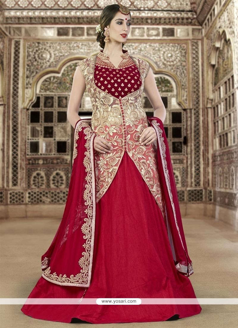 3f07991610 Buy Spellbinding Resham Work Raw Silk A Line Lehenga Choli | Bridal ...