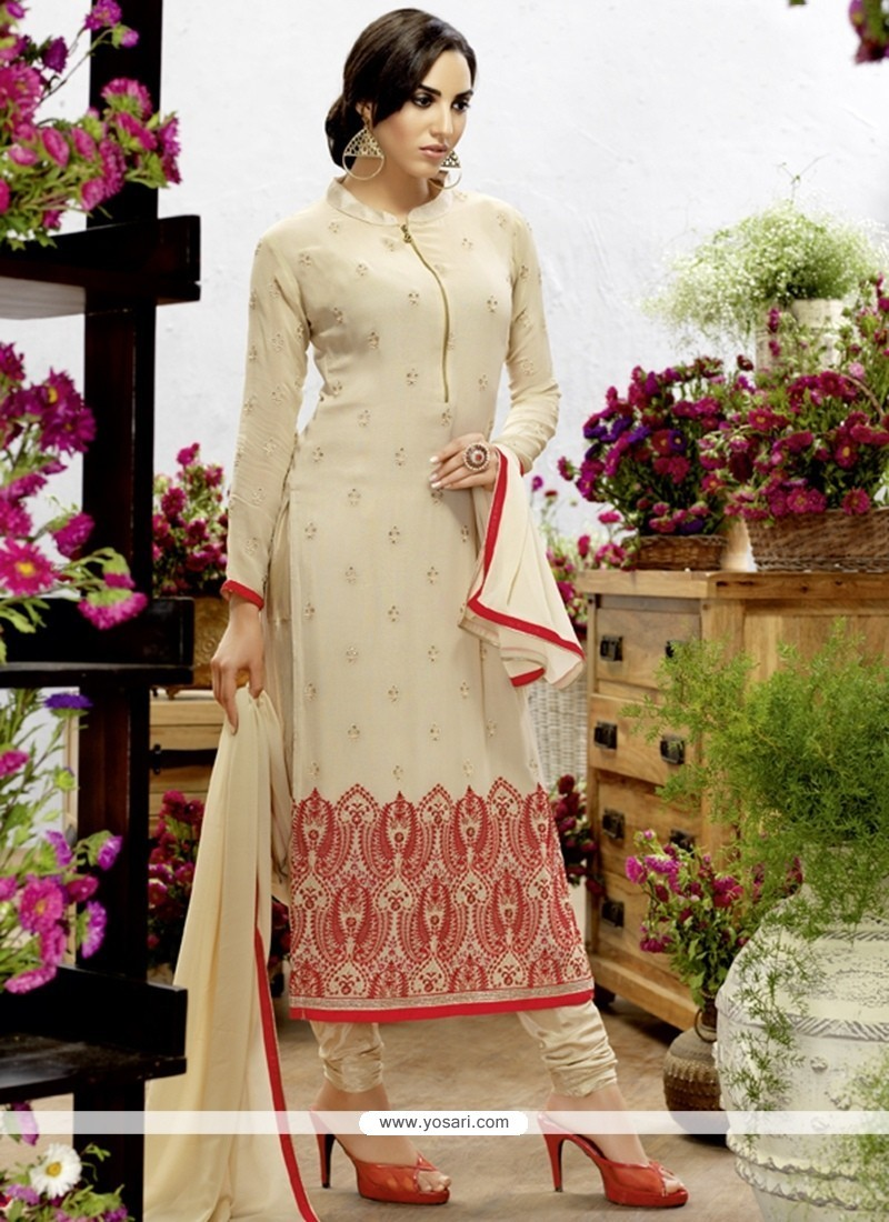 Flawless Georgette Cream Resham Work Churidar Designer Suit