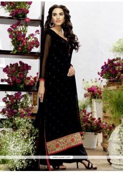 Jazzy Resham Work Black Georgette Designer Palazzo Salwar Suit