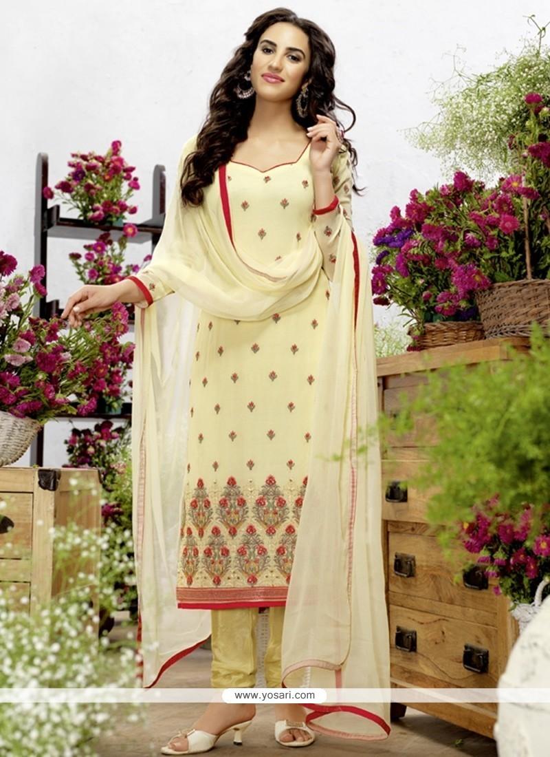 Simplistic Georgette Resham Work Churidar Designer Suit