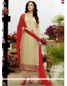 Riveting Lace Work Churidar Salwar Kameez