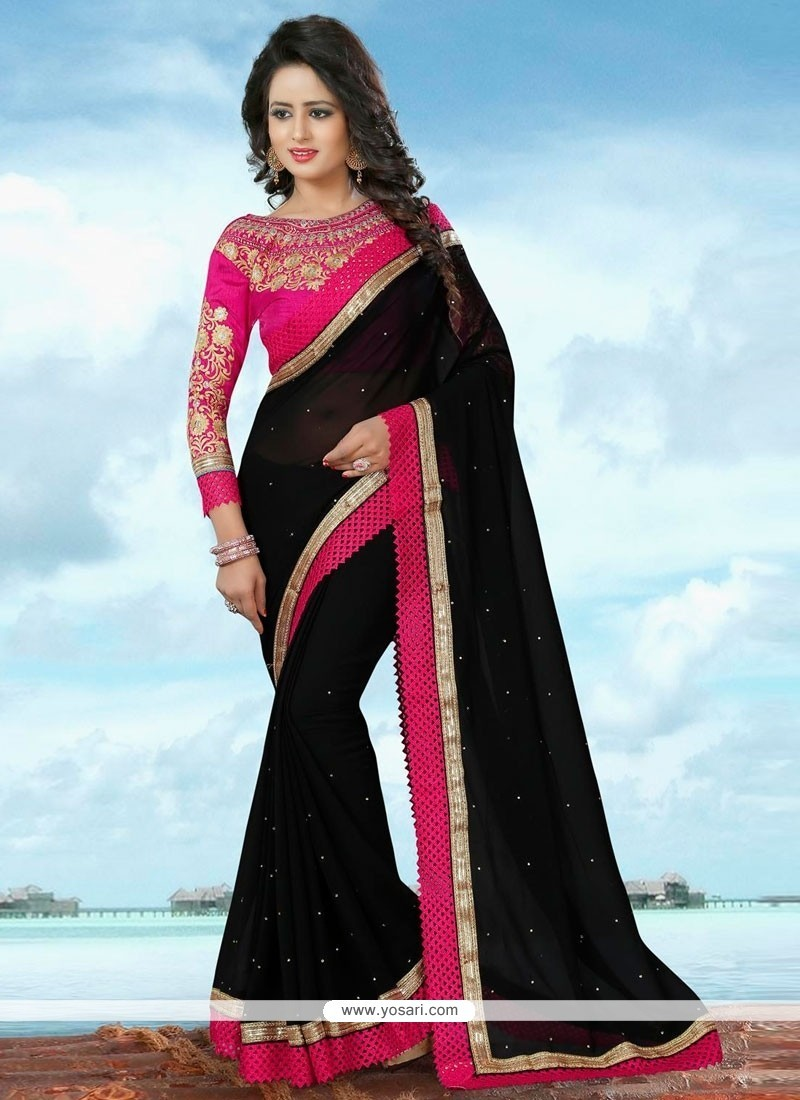 Prime Banglori Silk Black Patch Border Work Classic Saree