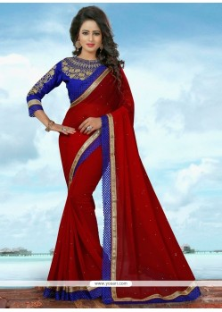 Majestic Banglori Silk Red Traditional Saree