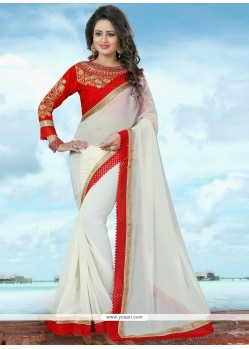 Resplendent Banglori Silk Off White Trendy Saree