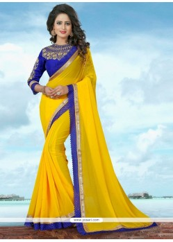 Snazzy Yellow Patch Border Work Banglori Silk Classic Saree