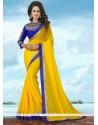 Snazzy Yellow Patch Border Work Banglori Silk Classic Saree