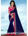 Enthralling Navy Blue Traditional Saree