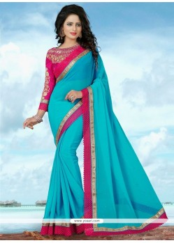 Ruritanian Patch Border Work Trendy Saree