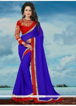 Embroidered Banglori Silk Classic Saree In Blue