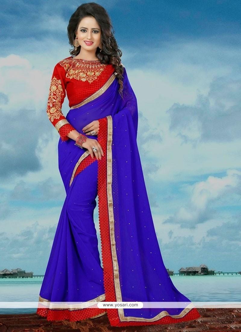 Embroidered Banglori Silk Classic Saree In Blue