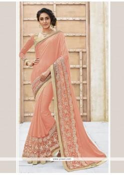 Pink Patch Border Work Georgette Designer Traditional Sarees
