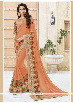 Beckoning Patch Border Work Georgette Designer Traditional Sarees