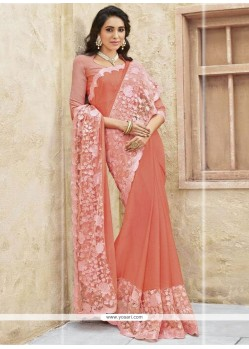 Titillating Embroidered Work Peach Designer Traditional Sarees