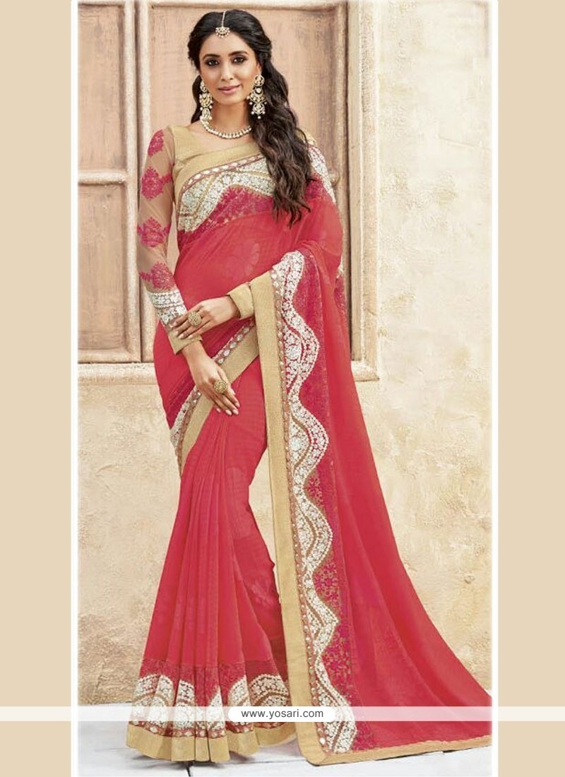 Delectable Georgette Embroidered Work Traditional Designer Sarees