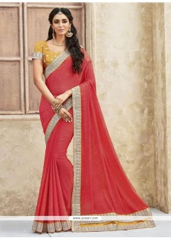 Prepossessing Faux Chiffon Rose Pink Classic Designer Saree