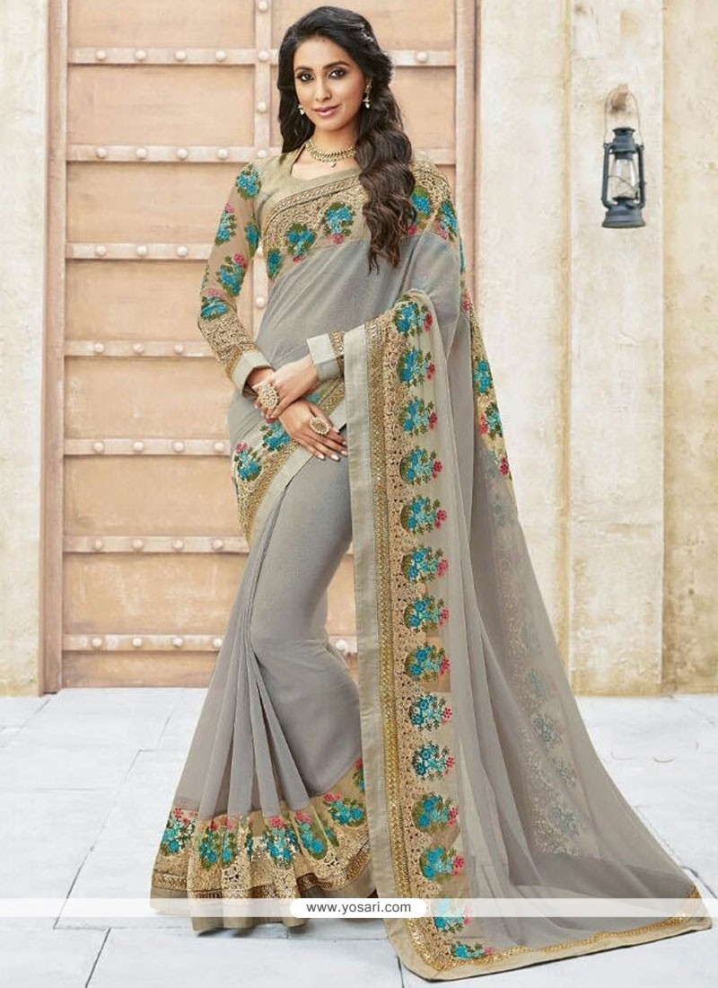 Piquant Shimmer Georgette Embroidered Work Designer Traditional Sarees
