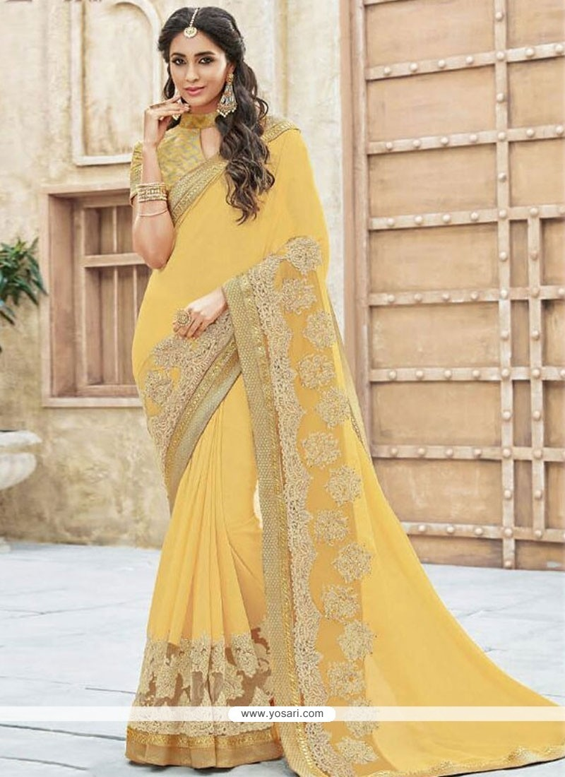 Tempting Georgette Yellow Designer Traditional Sarees