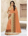 Fashionable Georgette Orange Designer Traditional Sarees