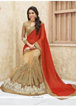 Suave Faux Chiffon Patch Border Work Designer Half N Half Saree