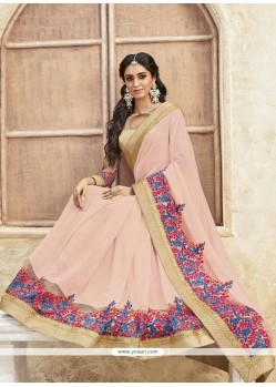 Mesmerizing Pink Patch Border Work Georgette Classic Designer Saree