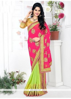 Intricate Green And Pink Lehenga Saree