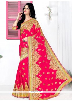 Flattering Georgette Hot Pink Patch Border Work Classic Designer Saree