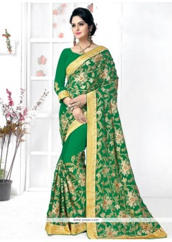 Pleasance Green Patch Border Work Georgette Traditional Designer Sarees