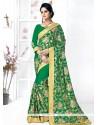 Pleasance Green Patch Border Work Georgette Traditional Designer Sarees