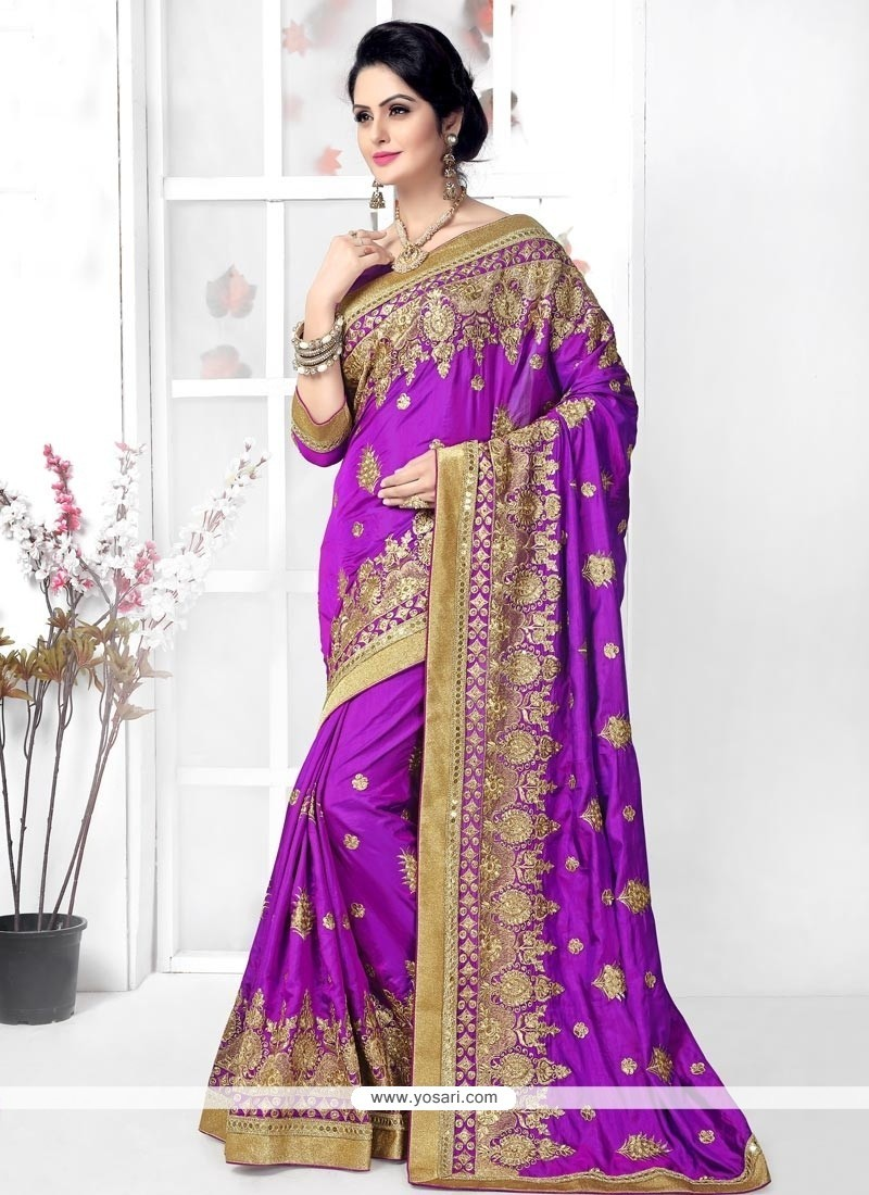 Celestial Silk Purple Designer Traditional Sarees