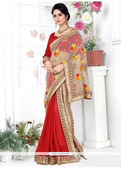 Peppy Banarasi Silk Red Patch Border Work Lehenga Saree