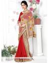 Peppy Banarasi Silk Red Patch Border Work Lehenga Saree