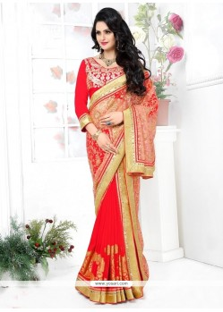Voluptuous Banarasi Silk Red Lehenga Saree