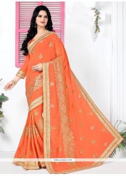 Versatile Georgette Orange Classic Designer Saree