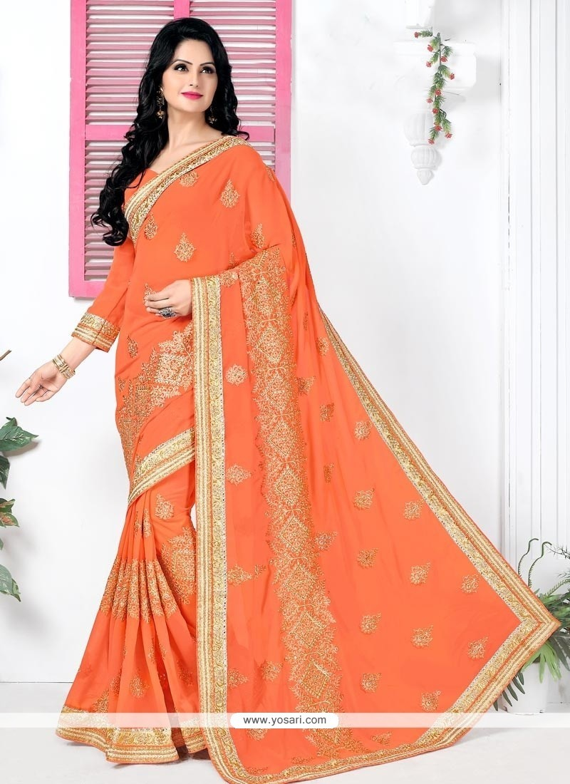 Versatile Georgette Orange Classic Designer Saree
