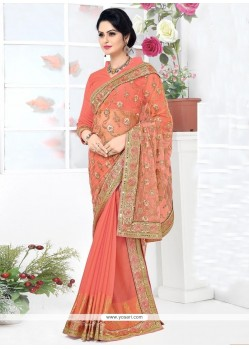 Urbane Banarasi Silk Orange Patch Border Work Lehenga Saree